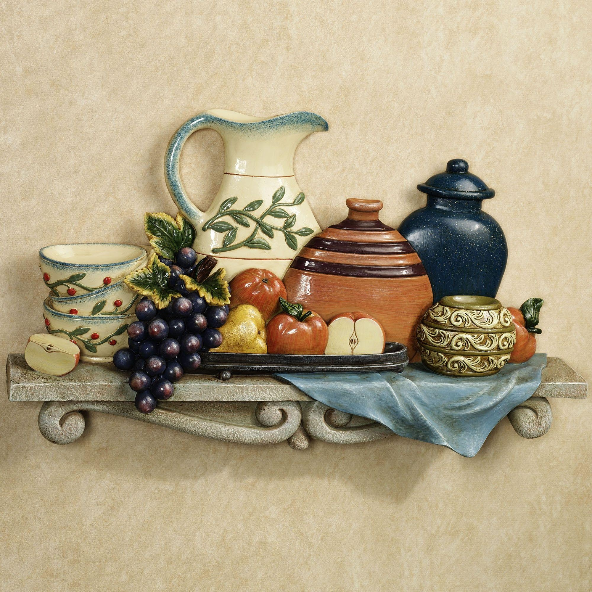 Tuscan Kitchen Wall Decor With Shelf – The Simple Ways For With Regard To Italian Wall Art For Kitchen (Image 16 of 20)