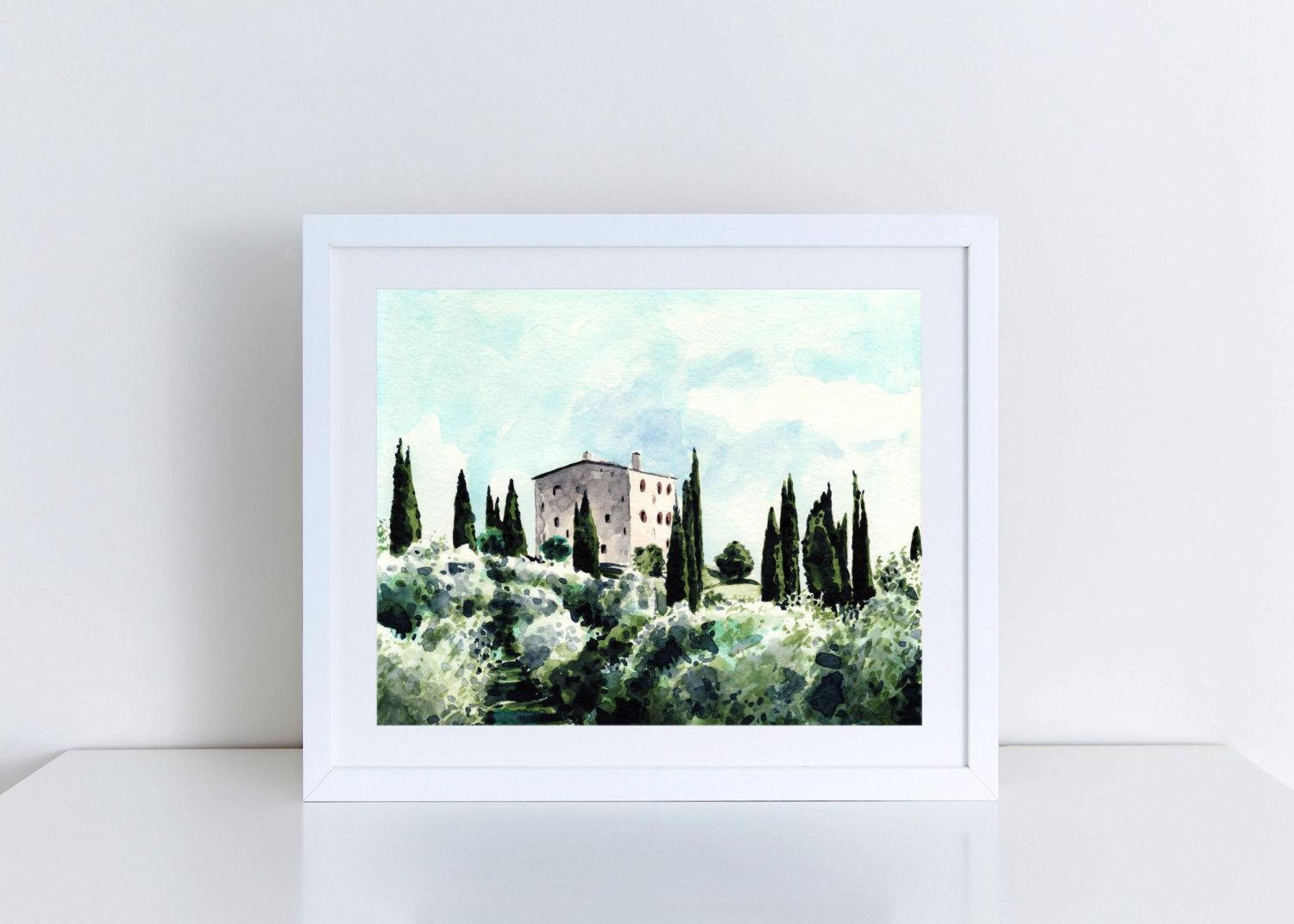 Tuscany Art Italy Painting Italy Watercolor Tuscany Print Throughout Italian Countryside Wall Art (View 9 of 20)