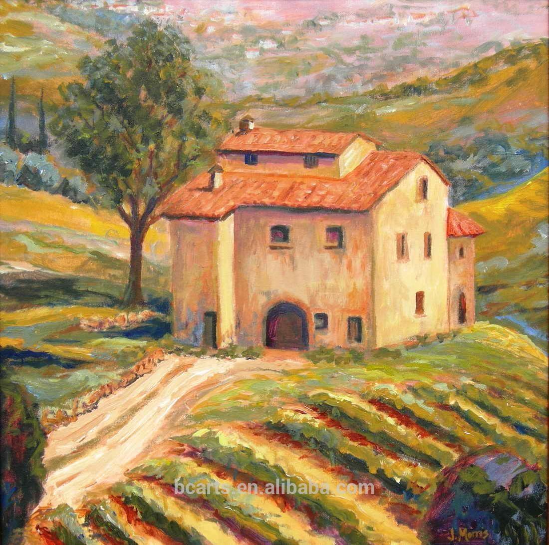 Tuscany Italian Vineyard Landscape Painting, Tuscany Italian Throughout Italian Villa Wall Art (View 17 of 20)