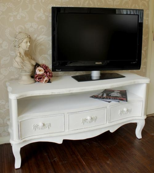 Tv Cabinet Unit White Shabby Cupboard Chic Television Stand Dvd With 2017 Shabby Chic Tv Cabinets (View 5 of 20)