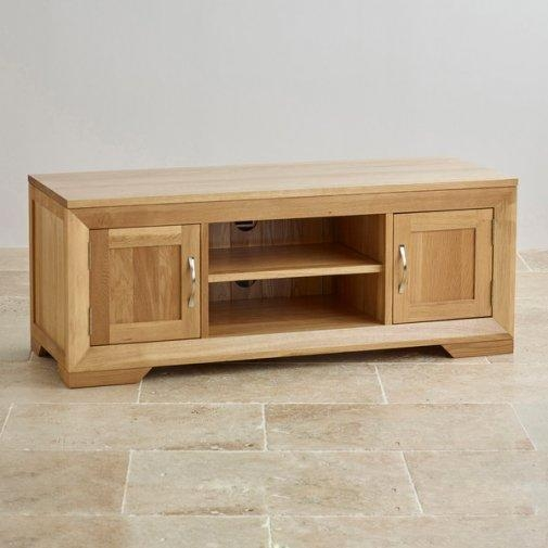 Tv Cabinets & Units | 100% Solid Oak | Oak Furniture Land With Newest Oak Tv Cabinets (Image 19 of 20)
