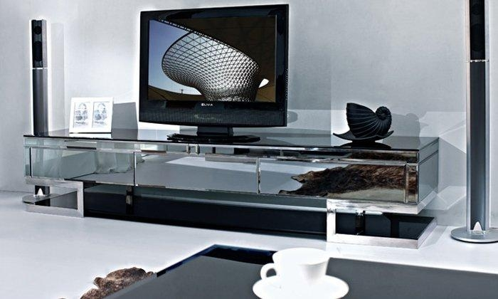Tv Cabinet,stainless Steel Black Painted Tempered Glass Side With Regard To Most Up To Date Glass Tv Cabinets (Image 17 of 20)