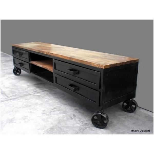 Tv Industrial Wood Steel Cabinet Pertaining To Most Up To Date Industrial Tv Cabinets (Image 19 of 20)