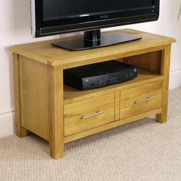 Tv Stand : 147 Small Oak Tv Stand With Drawers And Shelves For In Most Up To Date Small Tv Cabinets (Image 19 of 20)