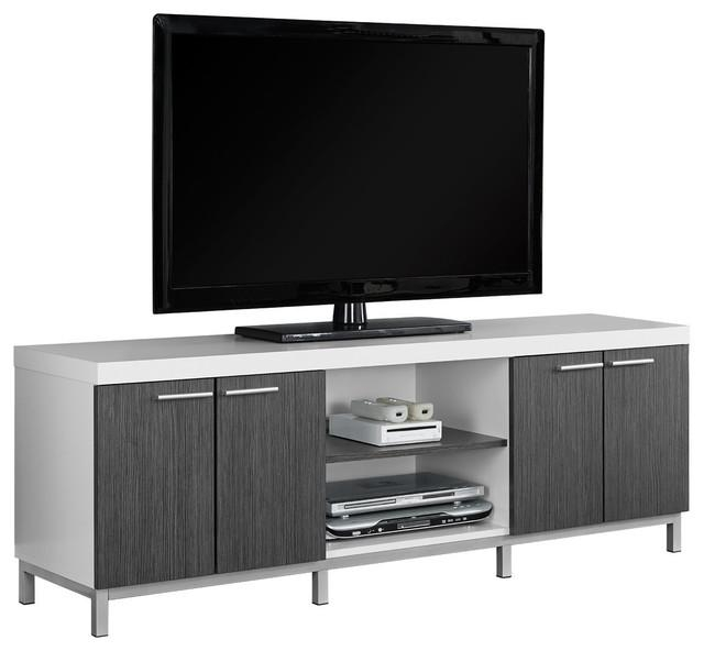 "Tv Stand, 60""l, Black, Gray – Contemporary – Entertainment Centers For Most Recent Tv Stands With Back Panel (Image 16 of 20)"