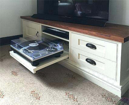 Tv Stand ~ Bespoke Tv Cabinet With Pull Out Turntable Shelf For Most Recent Turntable Tv Stands (Image 15 of 20)