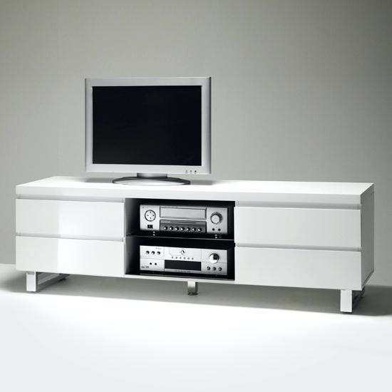 Tv Stand ~ Black And White Gloss Tv Stand Black And White Modern With Most Up To Date Glossy White Tv Stands (View 11 of 20)