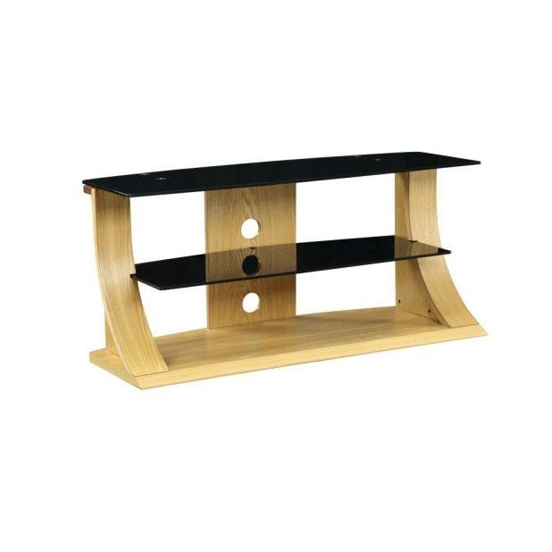 Tv Stand : Black Glass Wood Tv Stand 135 Impressive Portofino With 2018 Glass And Oak Tv Stands (View 5 of 20)