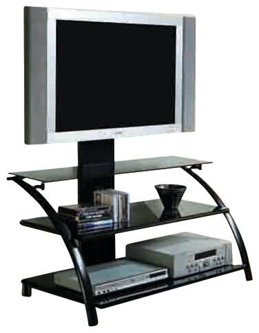 Tv Stand, Black, Tempered Glass With A Bracket – Contemporary In 2018 Contemporary Glass Tv Stands (View 14 of 20)