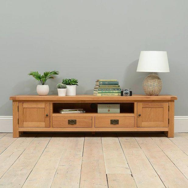 Tv Stand: Compact Wide Tv Stand Wood For Living Furniture. Modern Within Current Tv Stand 100Cm Wide (Photo 5 of 20)