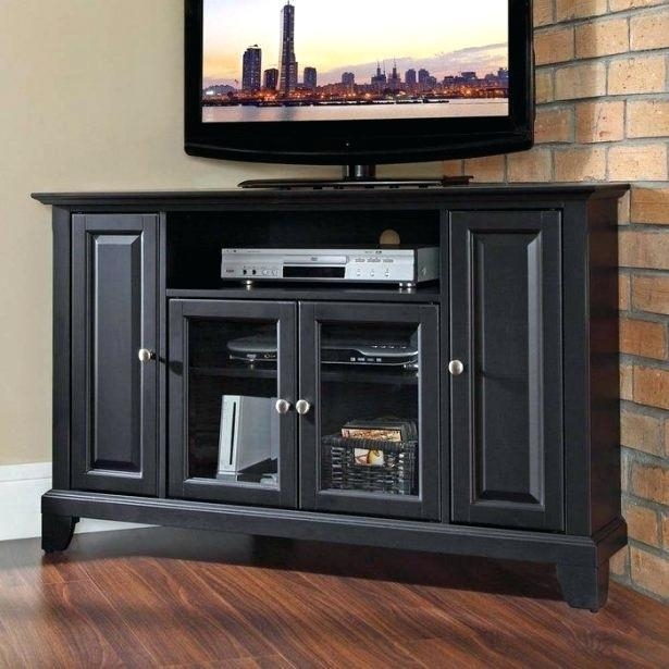 Tv Stand ~ Corner Tv Stand Glass Doors Corner Tv Stand With Glass Regarding 2017 Oak Tv Stands With Glass Doors (Image 18 of 20)