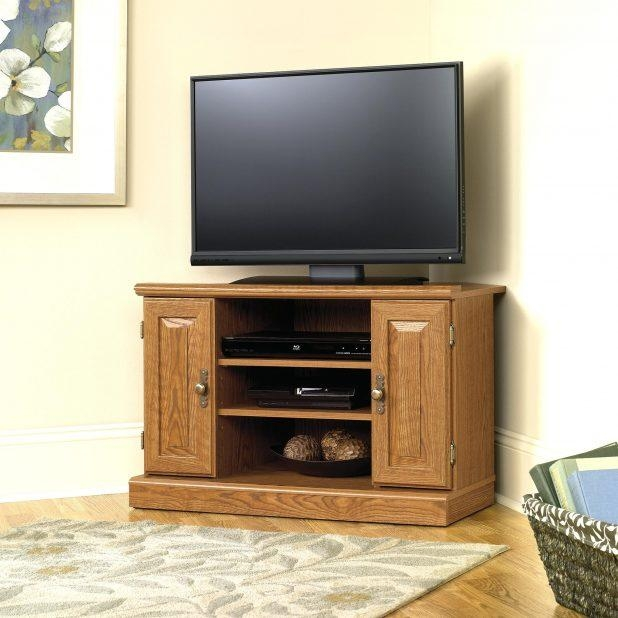 Tv Stand : Cozy Brown Wooden Media Cabinet With Tv Stand Using With Regard To Recent Wooden Corner Tv Cabinets (Image 17 of 20)