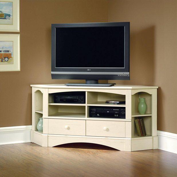 Tv Stand Ergonomic Distressed Design Corner Within Most Recent Cream