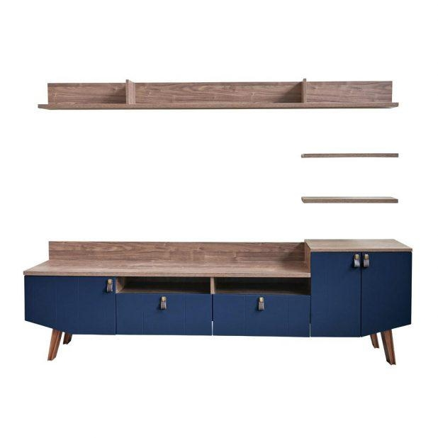 Tv Stand: Ergonomic Navy Blue Tv Stand For Living Room (Image 18 of 20)