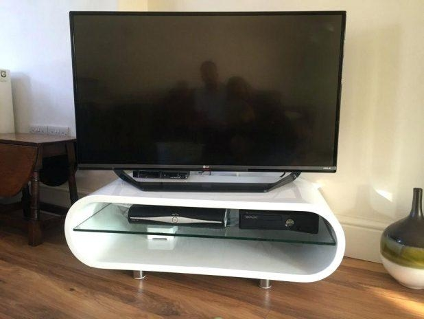 Tv Stand : Full Size Of Furnituretv Stand White Oak Karaby Tv With Most Up To Date White Gloss Oval Tv Stands (View 11 of 20)