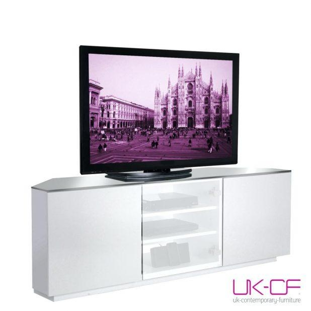 Tv Stand : Gorgeous Black And White Lacquer Tv Stand 148 Amazing For 2018 White Gloss Corner Tv Stand (View 15 of 20)