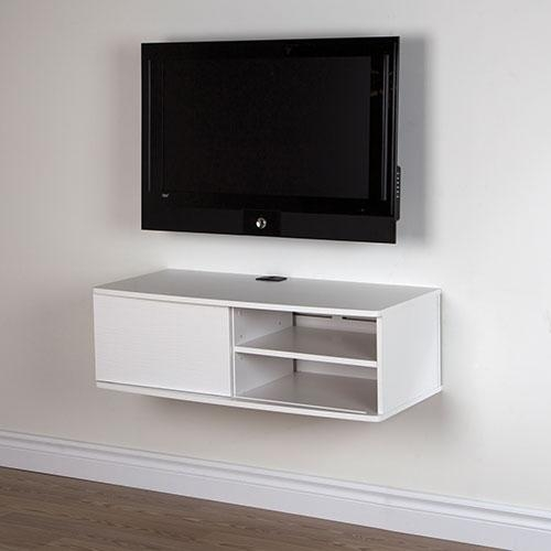 Tv Stand Homcom Floating Wall Mounted Cabinet Media South Shore With Regard To Most Current Tv Stands 38 Inches Wide (Image 17 of 20)