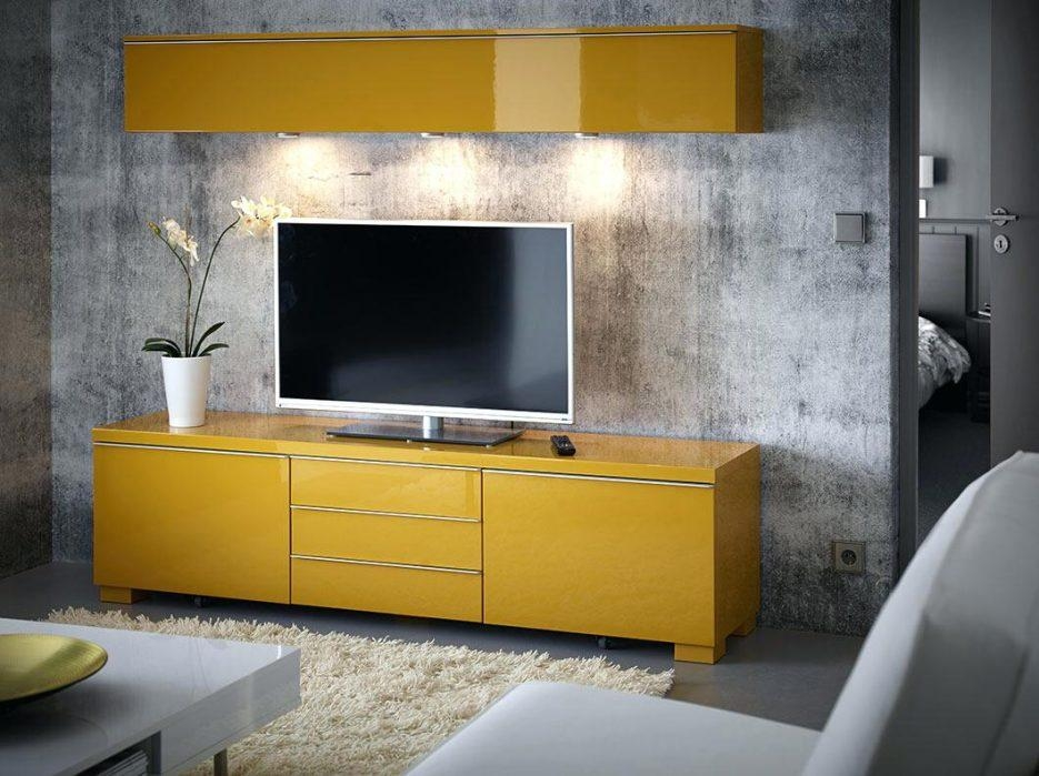 Tv Stand : Ikea A Living Room With A Wall Shelf And A Tv Bench With Best And Newest Yellow Tv Stands (Image 15 of 20)