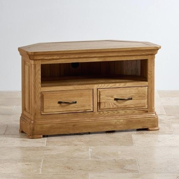 Tv Stand ~ Kuba Chunky Solid Oak Corner Tv Unit Torino Solid Oak With Regard To Newest Low Corner Tv Stands (Image 19 of 20)