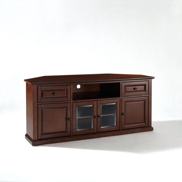 Tv Stand : Long Short Dark Brown Tv Stand With Glass Doors And With Latest Triangular Tv Stand (View 15 of 20)