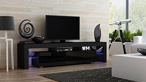 Tv Stand Milano 200 Black Body / Modern Led Tv Cabinet / Living For Most Recent Led Tv Cabinets (Image 19 of 20)
