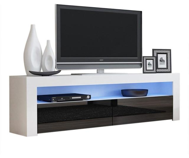 """Tv Stand Milano Classic White Body Modern 65"""" Tv Stand Led intended for Newest White And Black Tv Stands"""