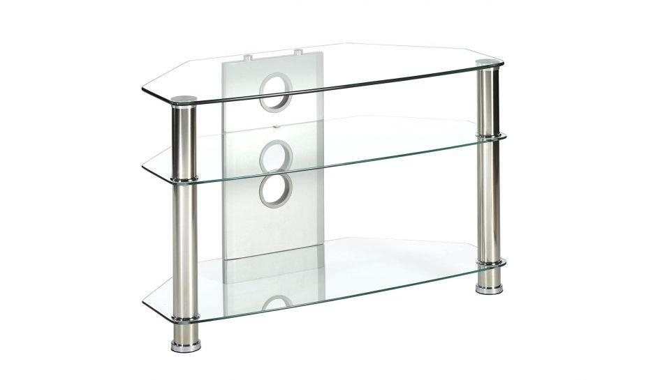 Tv Stand : Off The Wall Origin Ii S1 Silver Small Square Tv Stand In Most Current Clear Glass Tv Stand (Image 19 of 20)