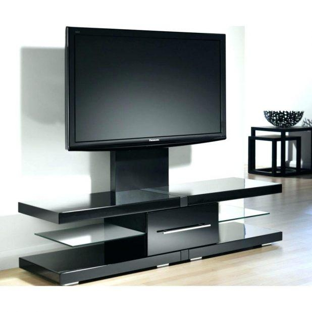 Tv Stand : Rectangle Dark Brown Wooden Tv Stand With Black Glass Within 2018 Cordoba Tv Stands (View 5 of 20)