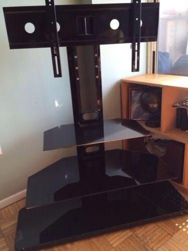 Tv Stand With Mount | Ebay Pertaining To Current Swivel Black Glass Tv Stands (Image 18 of 20)