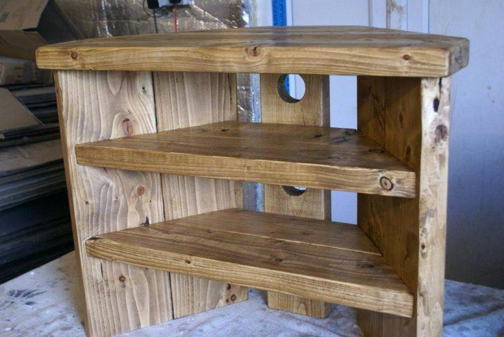Tv Stand ~ Wooden Tv Stands For Flat Screens Uk Solid Oak Tv throughout Most Current Rustic Corner Tv Cabinets