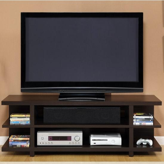 "Tv Stands – Altra Furniture 60"" Hollow Core Tv Stand With Espresso With Recent Tv Stands With Back Panel (Image 17 of 20)"