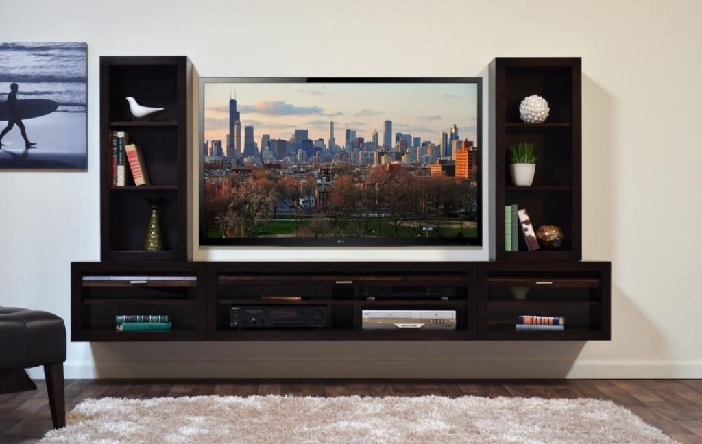 Tv Wall Mount Designs Black Solid Wood Floating Media Pertaining To 2018 Solid Wood Black Tv Stands (View 12 of 20)