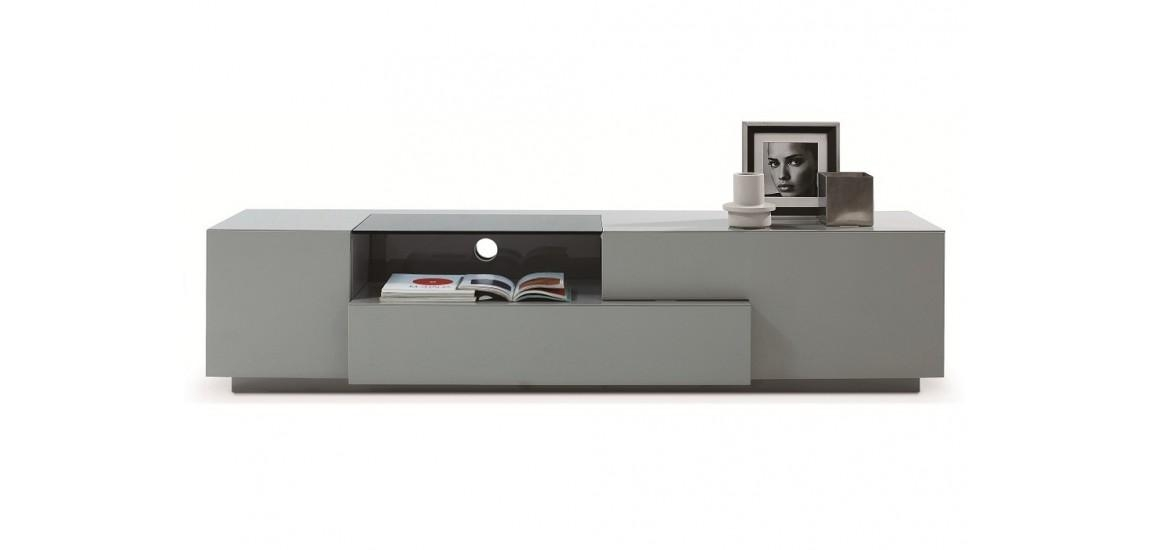 Tv015 Large Tv Stand In Grey High Gloss Finish With Regard To Most Current High Gloss White Tv Stands (Image 19 of 20)