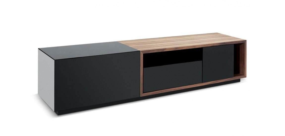 Tv047 Large Modern Tv Stand In Black And Walnut Finish With Latest Large Black Tv Unit (Image 19 of 20)