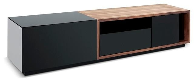 Tv047 Modern Tv Stand In Black High Gloss And Walnut Finish Pertaining To Best And Newest Walnut And Black Gloss Tv Unit (Image 20 of 20)