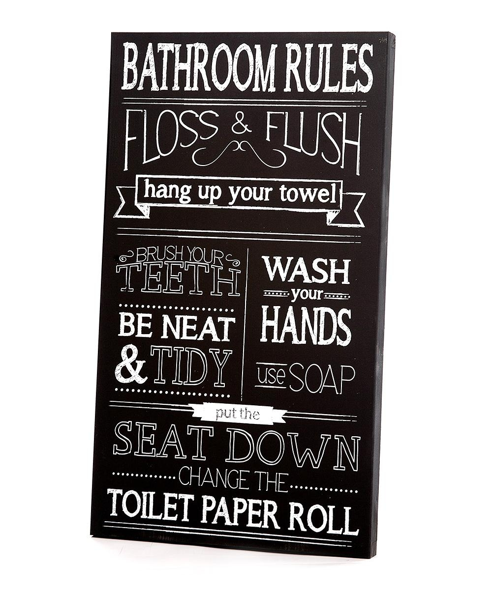 Twelve Timbers Black & White Bathroom Rules Wall Art | Zulily Regarding Black And White Bathroom Wall Art (Image 18 of 20)
