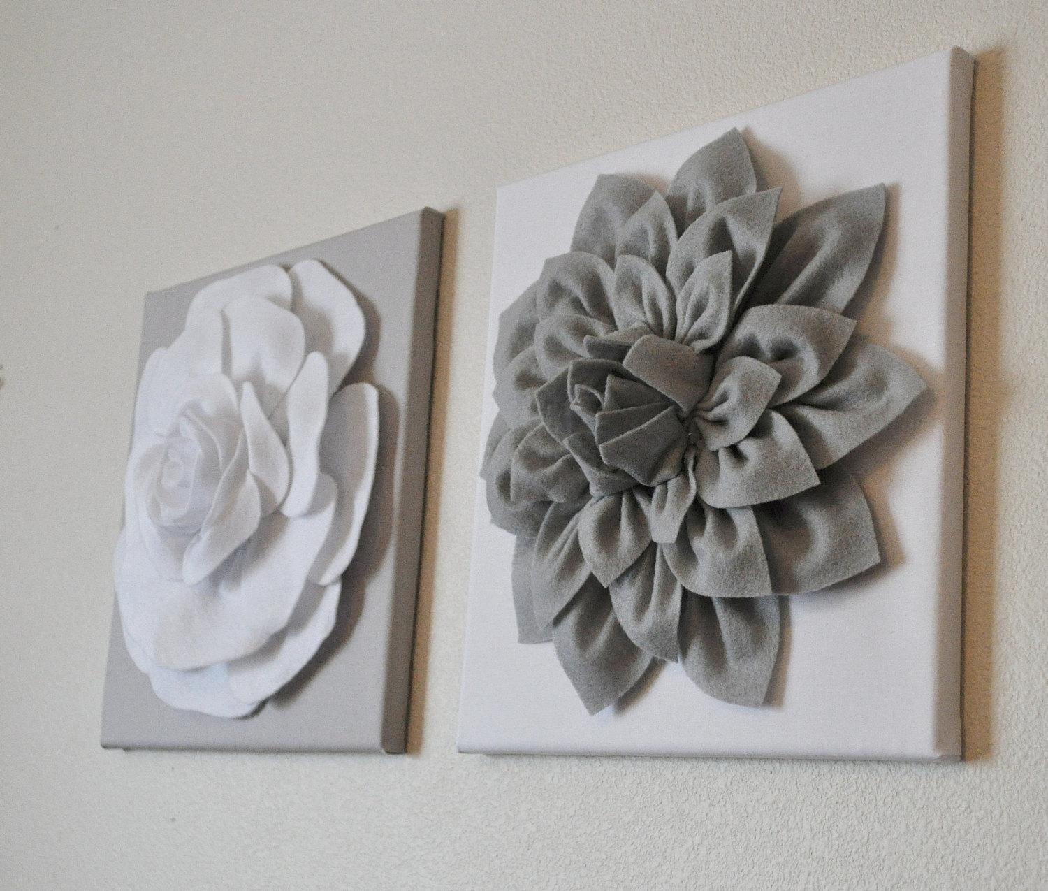 Two Wall Flowers Gray Dahlia On White And White Rose On Gray Throughout Gray And White Wall Art (Image 20 of 20)