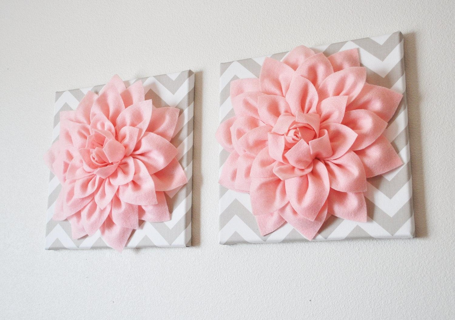 Two Wall Flowers Light Pink Dahlia On Taupe And White Chevron Inside Pink And White Wall Art (View 3 of 20)