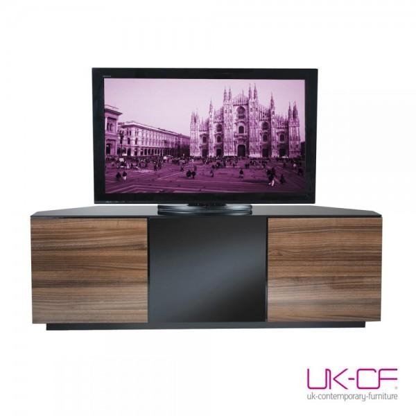 Uk-Cf Milan Cabinet Walnut Gloss Corner Tv Stand. Up To 55 Inch inside Recent Beam Thru Tv Cabinet