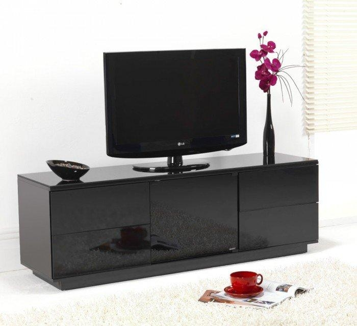 Uk-Cf Ultimate London Gloss Black Assembled Tv Cabinet To Suit throughout Best and Newest Black Gloss Tv Units
