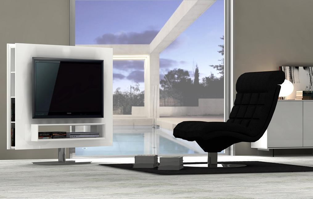 Ultra Contemporary White High Gloss Swivel Tv Entertainment Unit In Most Popular Tv Entertainment Unit (View 20 of 20)
