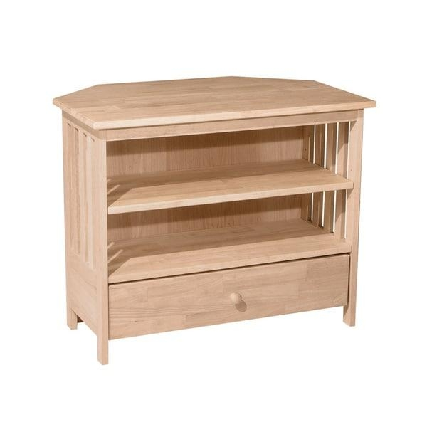 Unfinished Solid Parawood Mission Corner Tv Stand – Free Shipping With Regard To Recent Real Wood Corner Tv Stands (View 12 of 20)