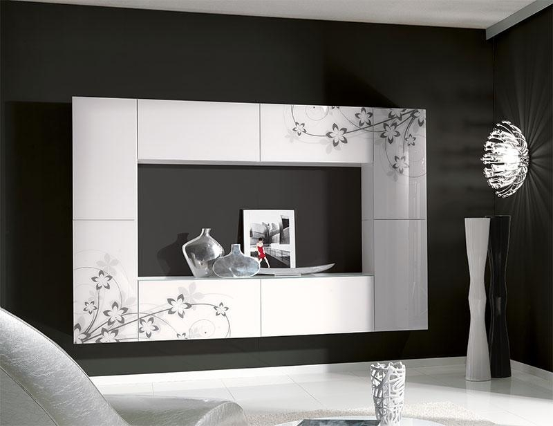 Unico Contemporary Wall Storage System In White With Floral Details throughout Best and Newest Black Gloss Tv Wall Unit