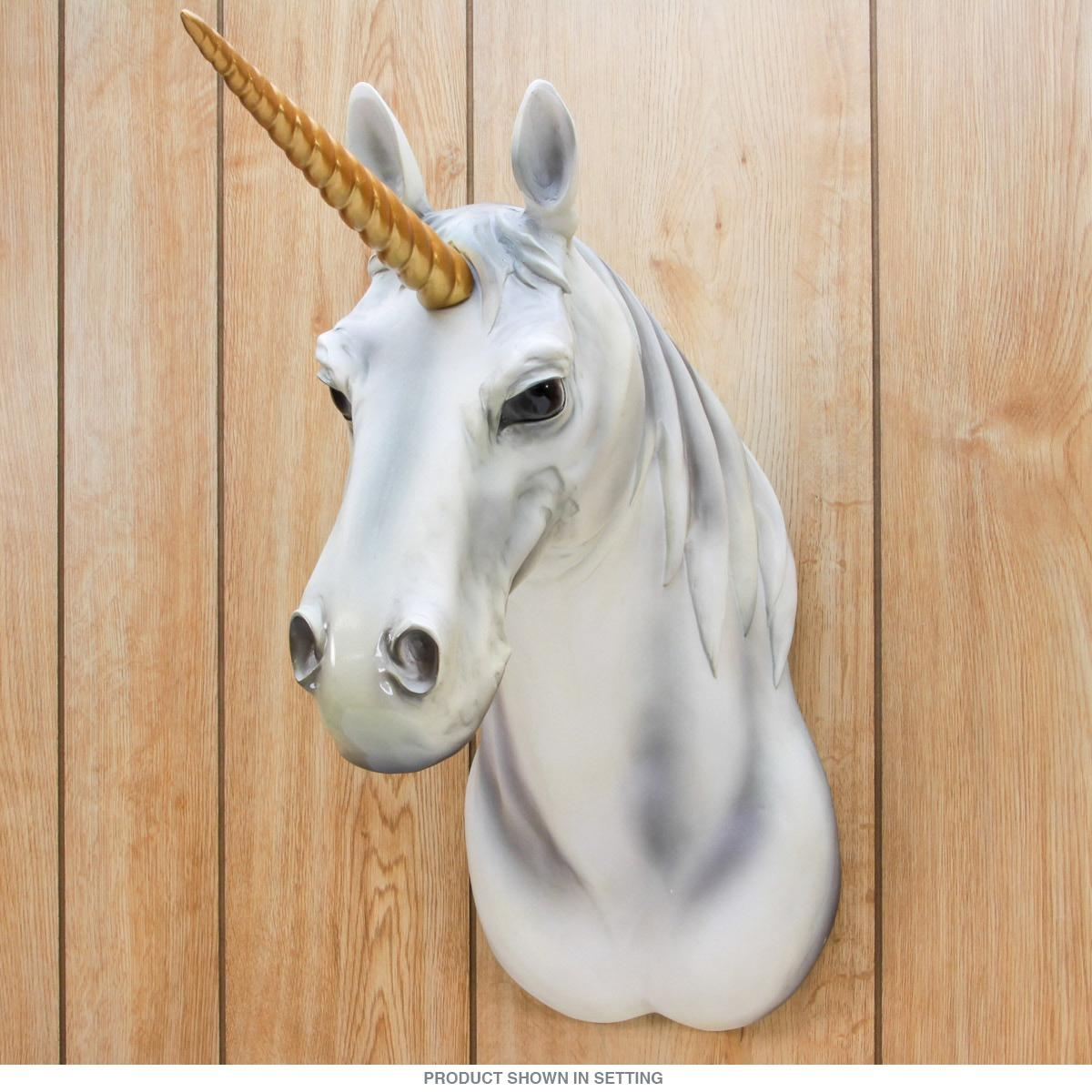 Unicorn Attack Plaque Resin Animal Head | Novelty Home Accents with regard to Resin Animal Heads Wall Art