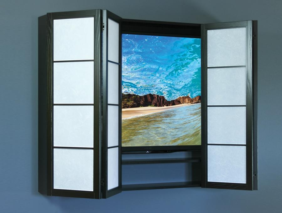Unique Flat Screen Surroundscherrytreedesign within Most Popular Wall Mounted Tv Cabinets for Flat Screens With Doors