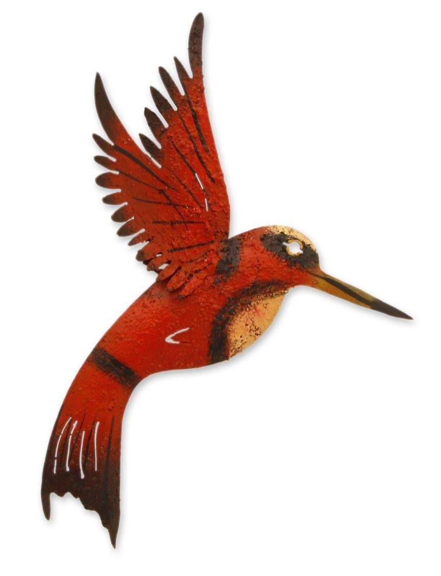 Unique Red Bird Wall Art Steel Sculpture From Mexico - Little Ruby in Hummingbird Metal Wall Art