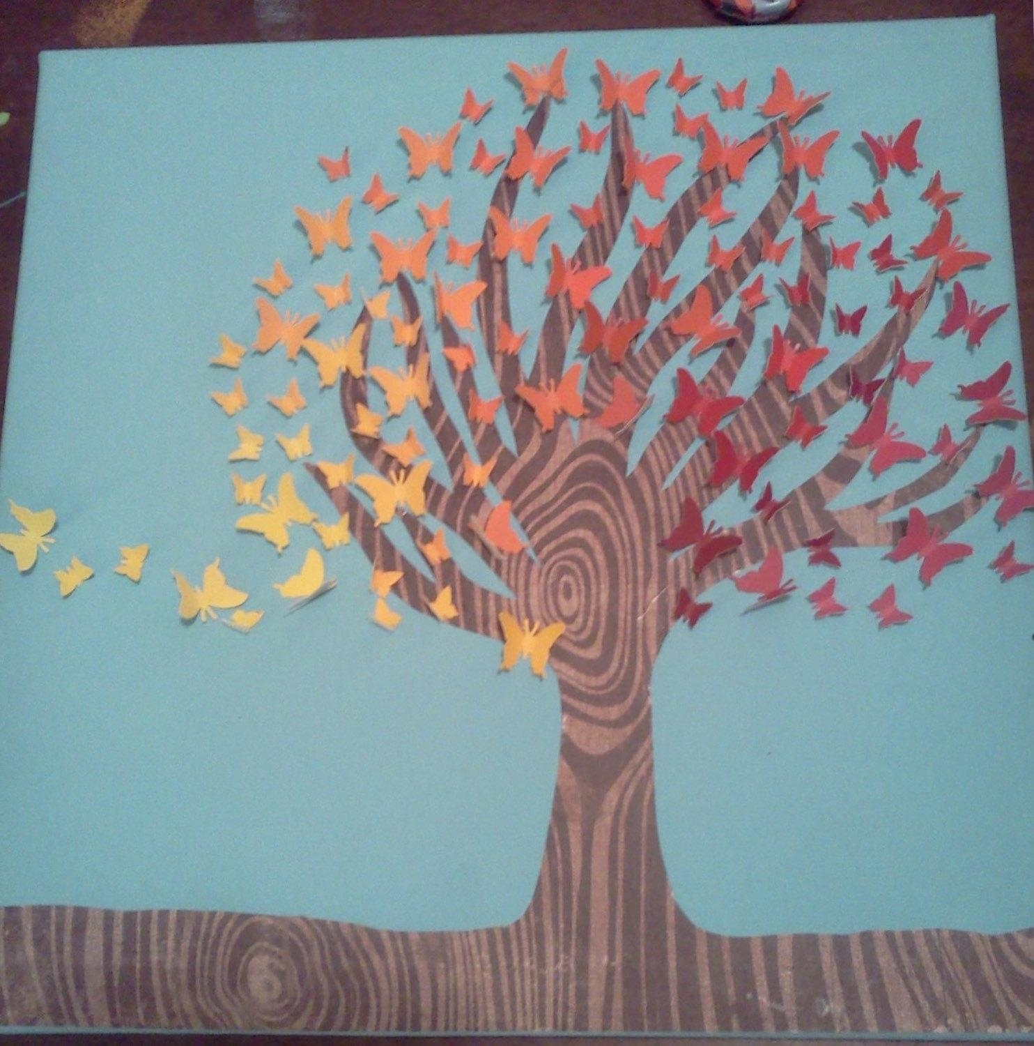 Unique Upcycled Butterfly Tree Wall Art. Recycled Paper Tree intended for Paint Swatch Wall Art