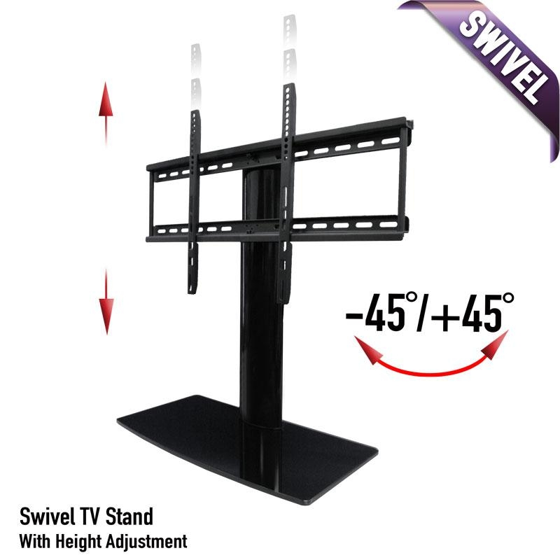 Universal Tabletop Tv Stand | Swivel Height Adjustment | Av throughout Most Recent Tabletop Tv Stand