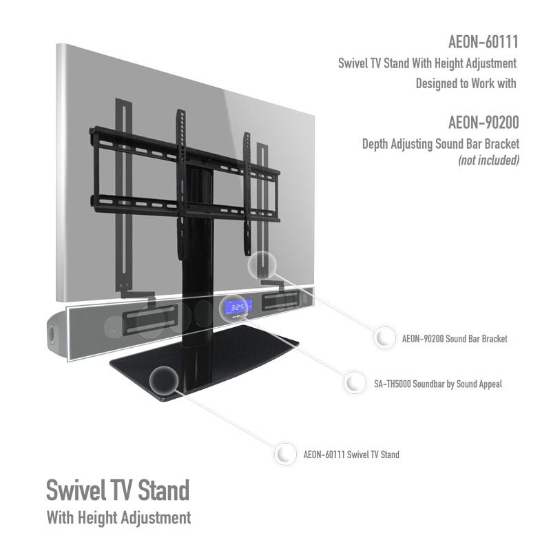 Universal Tabletop Tv Stand | Swivel Height Adjustment | Av Within 2018 Vizio 24 Inch Tv Stands (View 7 of 20)