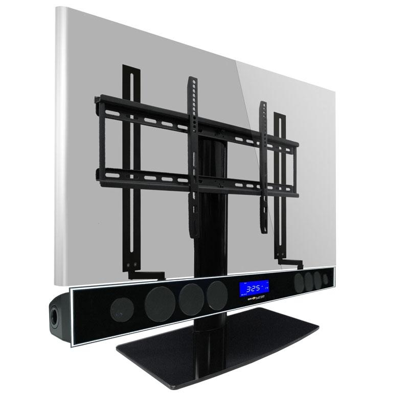 Universal Tv Stand Kit With Bluetooth Soundbar And Soundbar Mount Intended For Most Up To Date Tv Stand With Mount (Image 18 of 20)